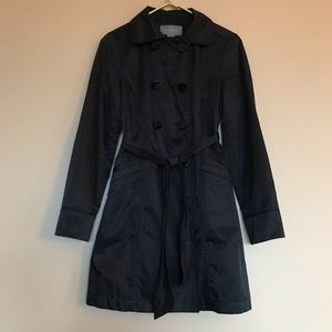 Ann Taylor Black Double Breasted Trench Coat